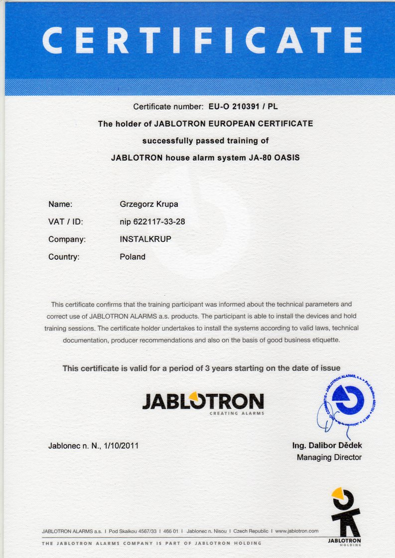 JABLOTRON system alarmowy JA-80