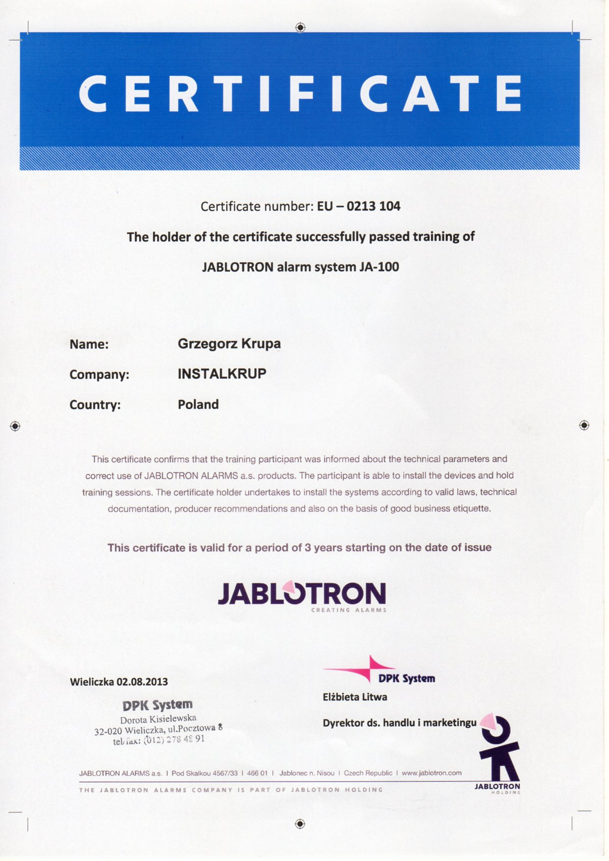 JABLOTRON system alarmowy JA100- EU