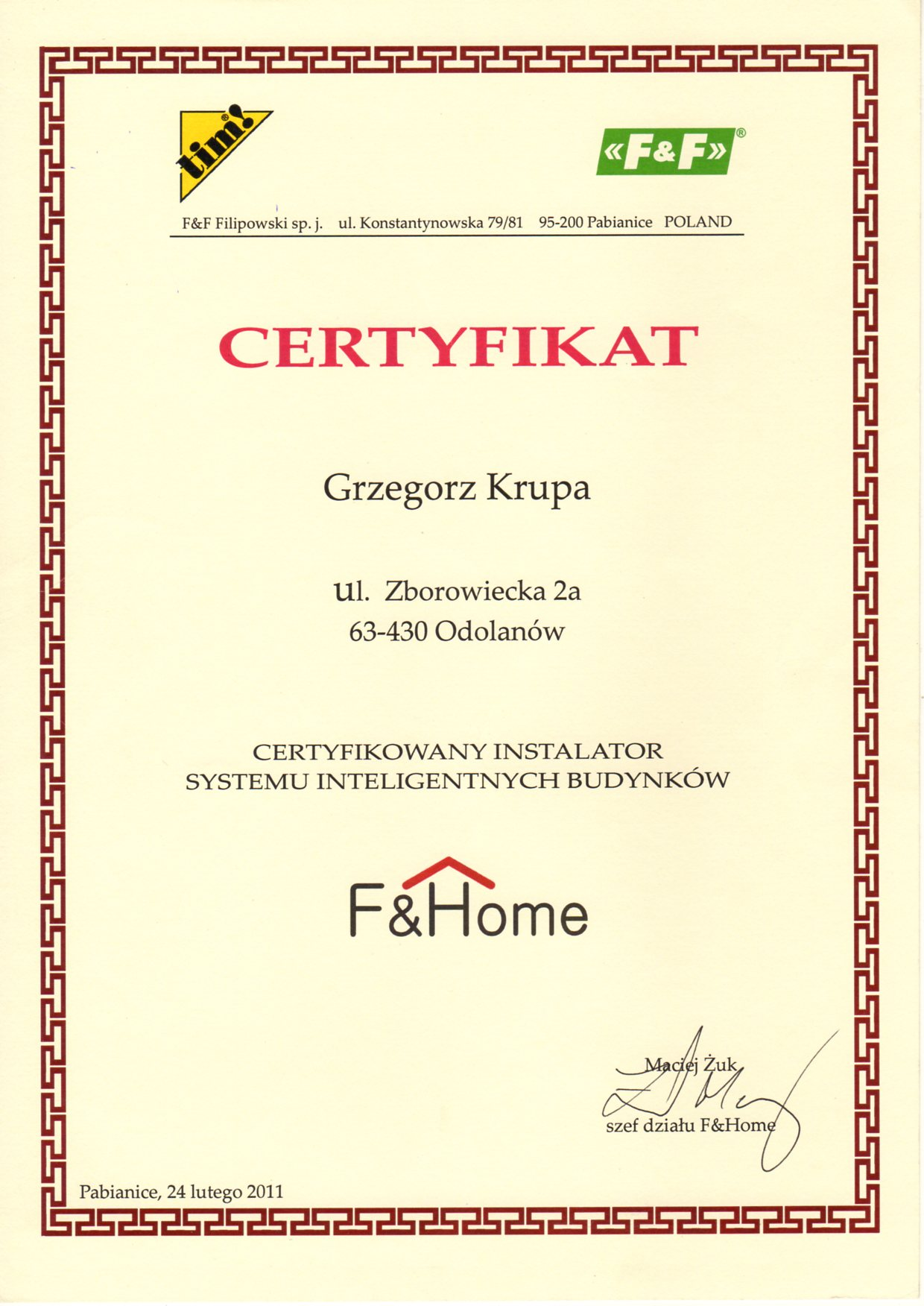 F&Home certyfikat instalatora