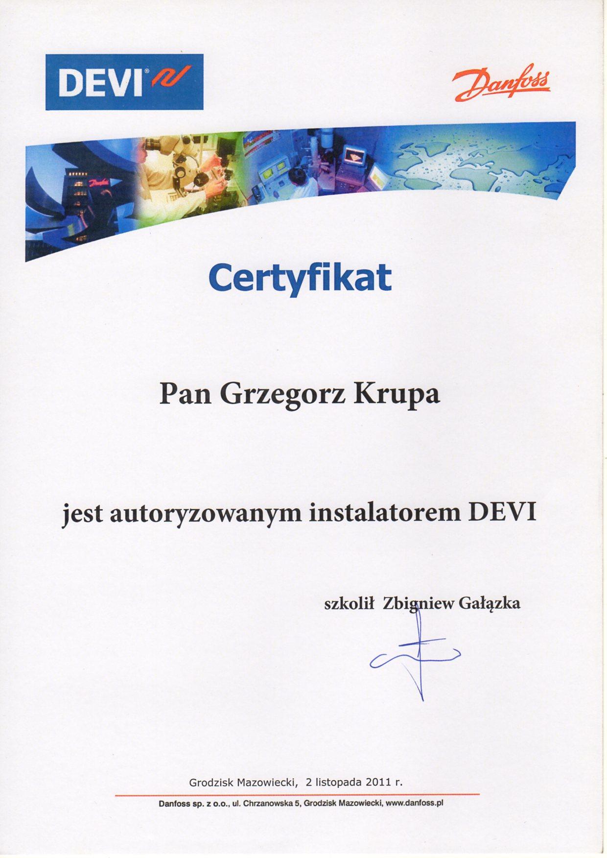 Autoryzowany instalatora DEVI