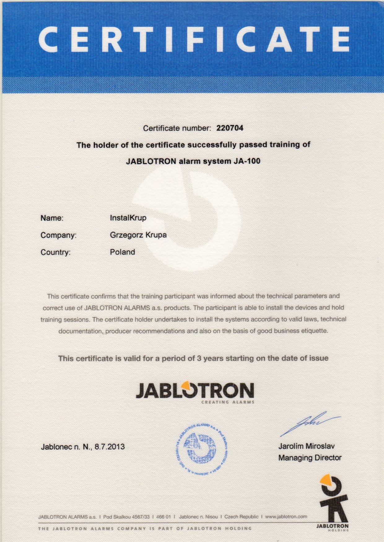 JABLOTRON system alarmowy JA-100